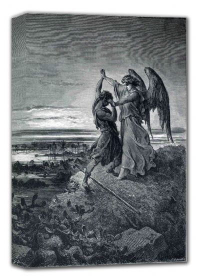 Dore, Gustave: Jacob Wrestling with the Angel (Illustration from Dore's 'The Holy Bible'). Fine Art Canvas. Sizes: A4/A3/A2/A1 (001830)